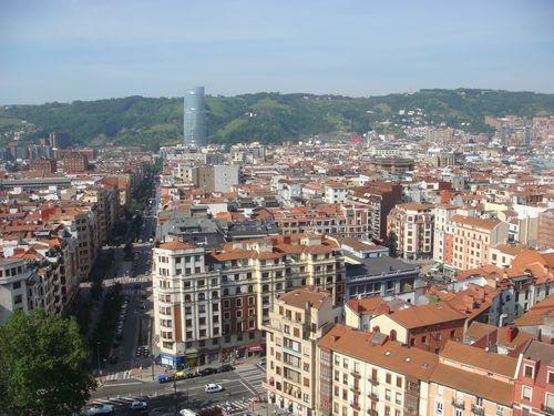 Bilbao Gran Via with symbol of masculinity in distance DSC04394